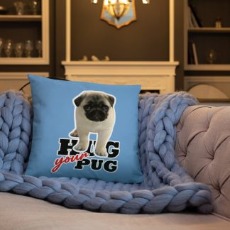 Hug Your Pug Cute Dog Puppy Blue Pillow | Gift for Dog Lovers
