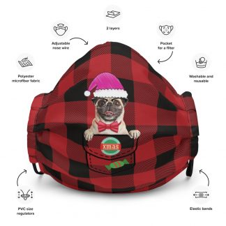 Pug Dog X-mas in Santa Hat Christmas Dog in Pocket at Plaid Pattern Face Mask