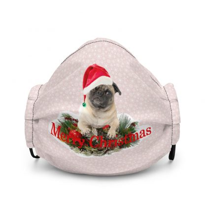 Merry Christmas Pug in Hat at Pink Snowflakes Face Mask