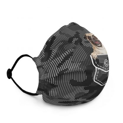 Funny Pug in Pocket Pug Dog in Glasses at Camouflage with Dots Pattern Face Mask