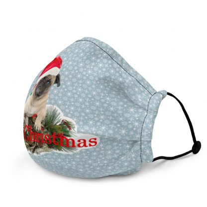 Merry Christmas Pug in Hat at Blue Snowflakes Face Mask