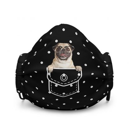 Funny Pug in Pocket Pug Dog in Glasses at White Dots Pattern Face Mask