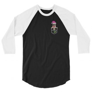 Pug Dog X-mas in Santa Hat Christmas Dog in Pocket 3/4 Sleeve Raglan Shirt