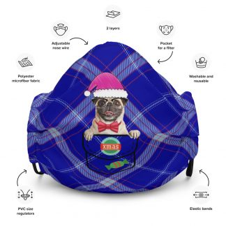 Pug Dog X-mas in Santa Hat Christmas Dog in Pocket at Scottish Plaid Texture Face Mask