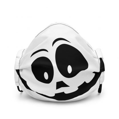 Black And White Drawing Of A Pumpkin Smile Face Mask