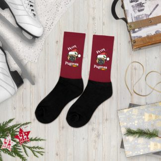 Christmas Pug Santa Hat Gift Pug Lovers Merry Pugmas Xmas Socks
