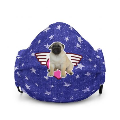 Pug Puppy Sweet Angel Heart   Vintage Silver Stars Face Mask