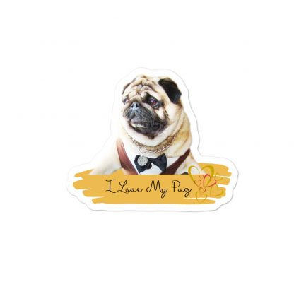 I Love My Pug  | Pug Dog Hipster Car Decal Back Window Bumper Stickers