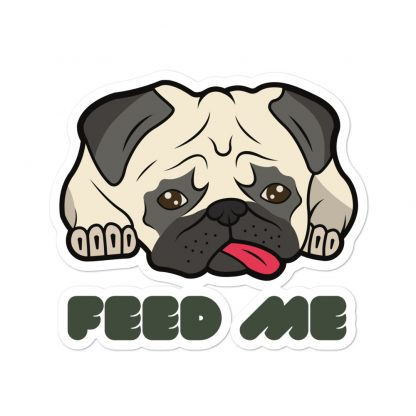 Cute Pug Face Sad Dog Feed Me Car Decal Back Window Bumper Stickers