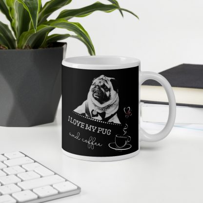 I Love My Pug and Coffee | Pug Dog Hipster Coffee Mug