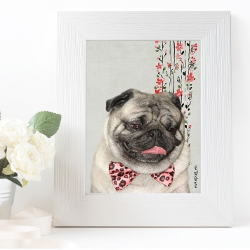 dog wall art bow tie